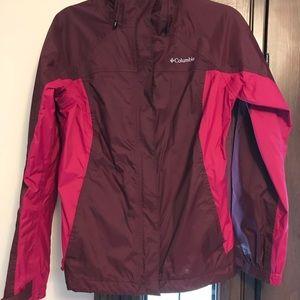 Columbia Magenta and Pink Rain Jacket